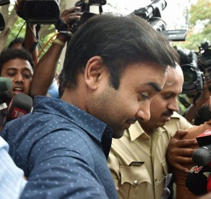 Bengaluru : Cricketer Amit Mishra comes out from the Cubbon park Police Station after he got bail in connection with a complaint of assault filed by a woman, in Bengaluru on Tuesday.